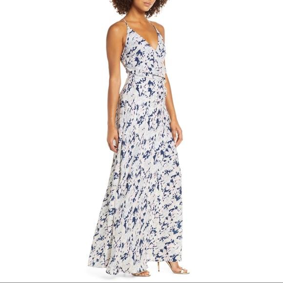 NWT WAYF Allison Floral Faux Wrap Gown